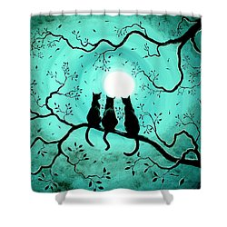 Three Black Cats Under A Full Moon Shower Curtain