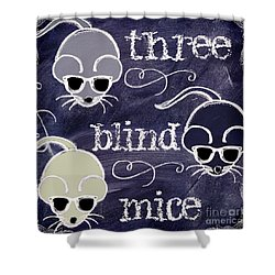 Three Blind Mice Children Chalk Art Shower Curtain by Mindy Sommers