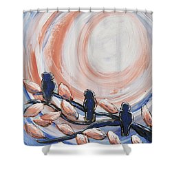 Three Blue Shower Curtain