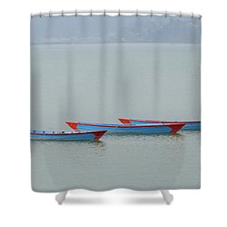 Three Blue Boats On Phewa Lake In Pokhara Shower Curtain