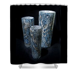 Three Blue Cylinders Shower Curtain