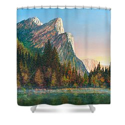 Three Brothers Morning Shower Curtain by Douglas Castleman