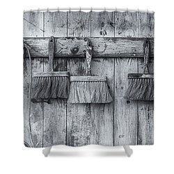Shower Curtain featuring the photograph Three Brushes Black And White by Tom Singleton