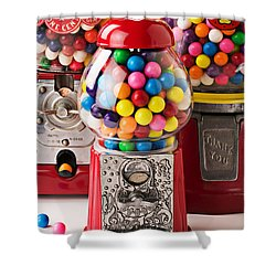 Three Bubble Gum Machines Shower Curtain by Garry Gay