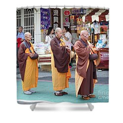 Shower Curtain featuring the photograph Three Buddhist Monks Chant Scriptures by Yali Shi
