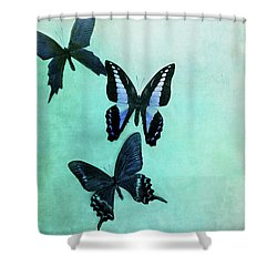 Three Butterflies Shower Curtain