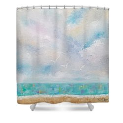 Three By The Sea Shower Curtain