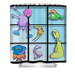 Three By Whee Shower Curtain