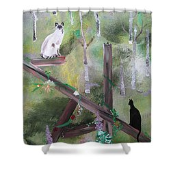Three Cats In The Yard Shower Curtain