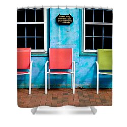 Shower Curtain featuring the photograph Three Chairs And Two Windows by Nancy De Flon