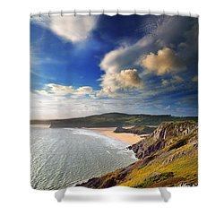 Three Cliffs Bay 1 Shower Curtain