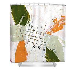 Shower Curtain featuring the painting Three Color Palette Orange 3 by Michal Mitak Mahgerefteh