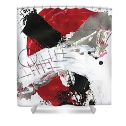 Three Color Palette Red 2 Shower Curtain by Michal Mitak Mahgerefteh