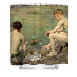 Three Companions Shower Curtain by Henry Scott Tuke