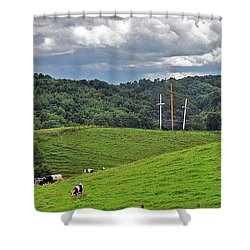 Three Crosses On The Farm Shower Curtain by Lydia Holly