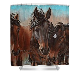 Three Curious Friends Shower Curtain
