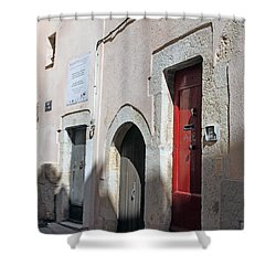 Three Different Doors Shower Curtain by Allan Levin