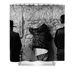 Three Different Selichot Prayers At The Kotel Shower Curtain by Yoel Koskas
