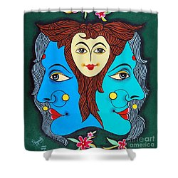 Three Faces Of Smiling Shower Curtain by Ragunath Venkatraman