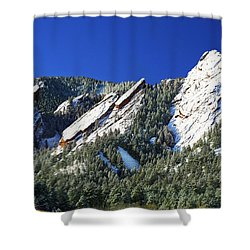 Three Flatirons Shower Curtain by Marilyn Hunt