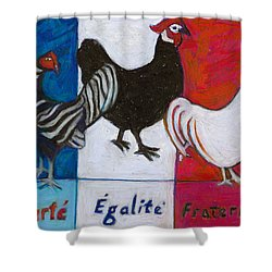 Shower Curtain featuring the painting Three French Hens by Denise Weaver Ross