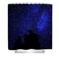 Shower Curtain featuring the photograph Three Gossips And The Milky Way - Arches National Park by Gary Whitton