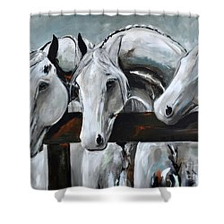 Shower Curtain featuring the painting Three Greys by Cher Devereaux