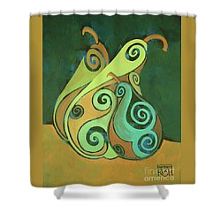 Three Groovy Little Pears Shower Curtain