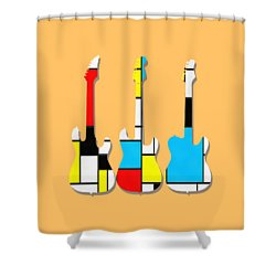 Three Guitars Modern Tee Shower Curtain by Edward Fielding
