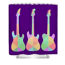 Three Guitars Triangles Tee Shower Curtain by Edward Fielding