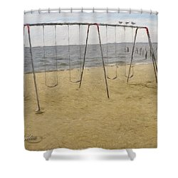 Shower Curtain featuring the photograph Three Gulls And A Swing Set by Melissa Messick