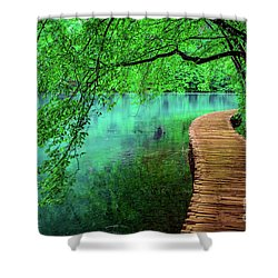 Tree Hanging Over Turquoise Lakes, Plitvice Lakes National Park, Croatia Shower Curtain