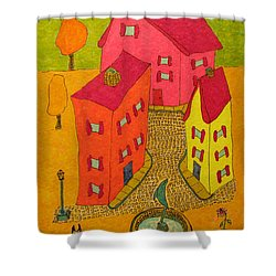 Three Homes With Sculpture Fountain Shower Curtain