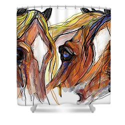 Three Horses Talking Shower Curtain