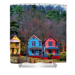 Shower Curtain featuring the photograph Three Houses Hot Springs Ar by Diana Mary Sharpton