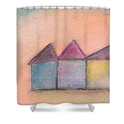 Three Houses Shower Curtain by Valerie Reeves