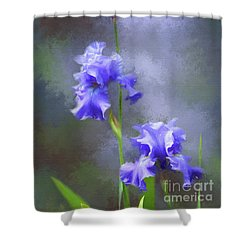 Three Iris Shower Curtain by Lena Auxier