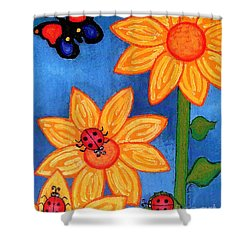 Three Ladybugs And Butterfly Shower Curtain by Genevieve Esson
