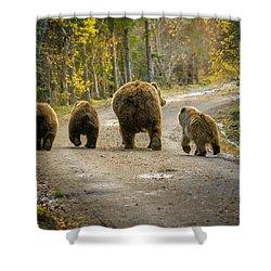 Three Little Bears And Mama Shower Curtain