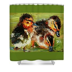 Three Little Ducks Shower Curtain by Janet Garcia