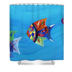 Shower Curtain featuring the painting Three Little Fishy's by Jamie Frier