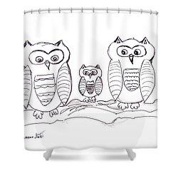 Three Little Owls Shower Curtain by Ramona Matei