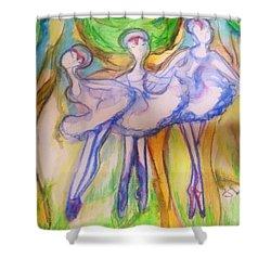 Three Magical Birds Shower Curtain by Judith Desrosiers