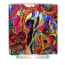 Shower Curtain featuring the painting Angel And Dragon by Marina Petro