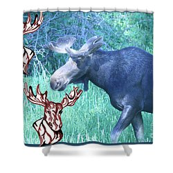 Three Moose Shower Curtain