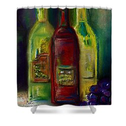 Three More Bottles Of Wine Shower Curtain by Frances Marino