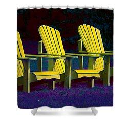 Three Old Friends Shower Curtain by Elisabeth Van Eyken