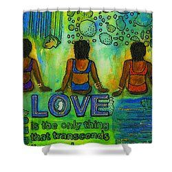Three On The Beach Shower Curtain by Angela L Walker