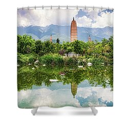 Three Pagodas Shower Curtain by Wade Aiken