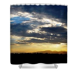Three Peak Sunset Swirl Skyscape Shower Curtain by Matt Harang